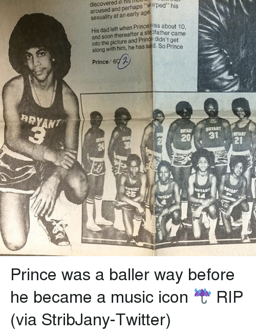Arousing: discovered in hlgllUll  aroused and perhaps sexuality at an early age  His dad left when about 10  and soon thereafter a ste  came  into the picture and Pr  didn't get  along with him, he has sad. So Prince  Prince  RRYANT  BRTART  31 Prince was a baller way before he became a music icon ☔️ RIP (via StribJany-Twitter)