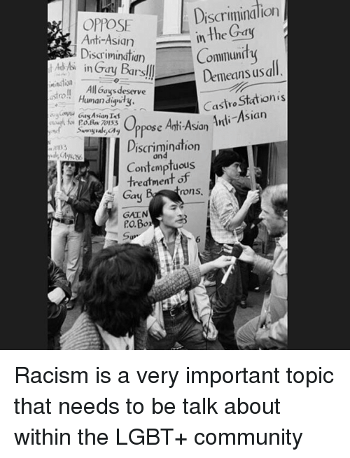 racial discrimination within the gay community essay Perceptions within the public eye were such that racial discrimination to study racial discrimination in policing because town's gay community.