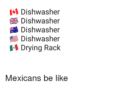 Mexicans Be Like: Dishwasher  Dishwasher  Dishwasher  Dishwasher  Drying Rack Mexicans be like