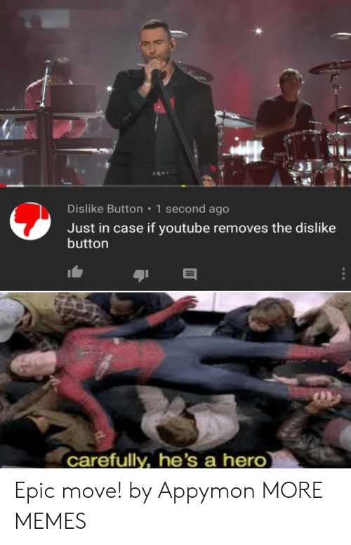 1 Second: Dislike Button  1 second ago  Just in case if youtube removes the dislike  button  carefully, he's a hero Epic move! by Appymon MORE MEMES
