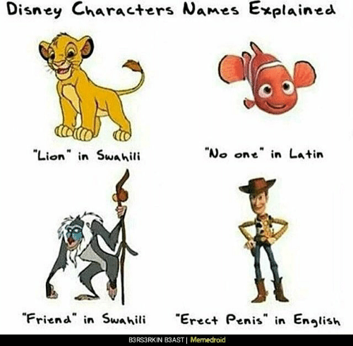 "Memedroid: Disney Characters Names  Explained  Lion n Swahili  ""No one"" in Latin  ""Friend in Swahili  reet Penis in Enlish  B3RS3RKIN B3AST 