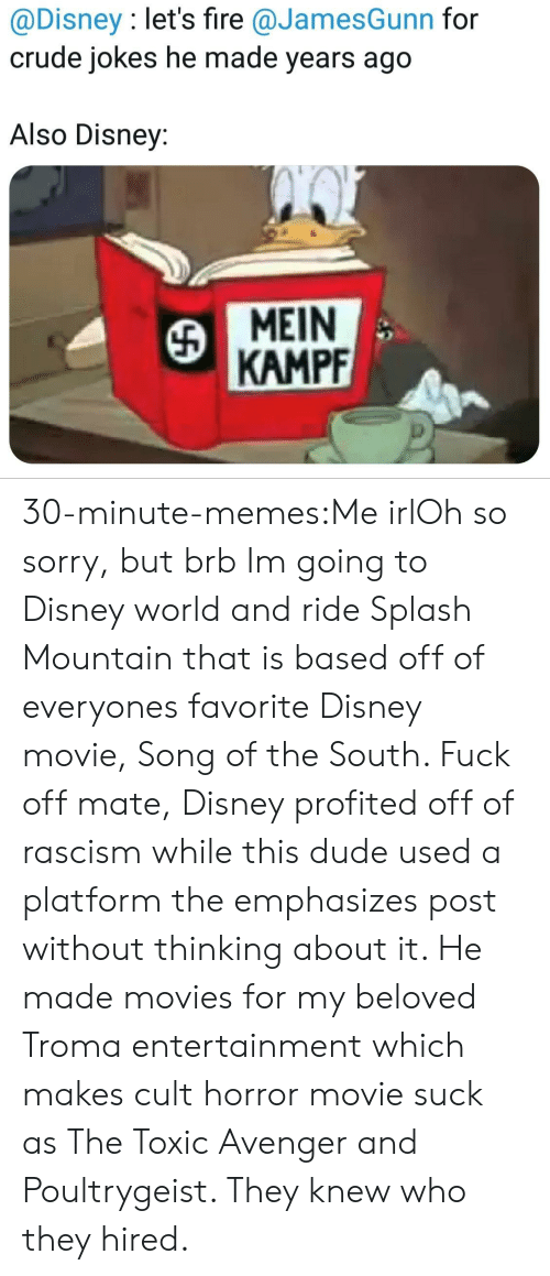disney movie: @Disney : let's fire @JamesGunn for  crude jokes he made years ago  Also Disney:  MEIN  KAMPF 30-minute-memes:Me irlOh so sorry, but brb Im going to Disney world and ride Splash Mountain that is based off of everyones favorite Disney movie, Song of the South. Fuck off mate, Disney profited off of rascism while this dude used a platform the emphasizes post without thinking about it. He made movies for my beloved Troma entertainment which makes cult horror movie suck as The Toxic Avenger and Poultrygeist. They knew who they hired.
