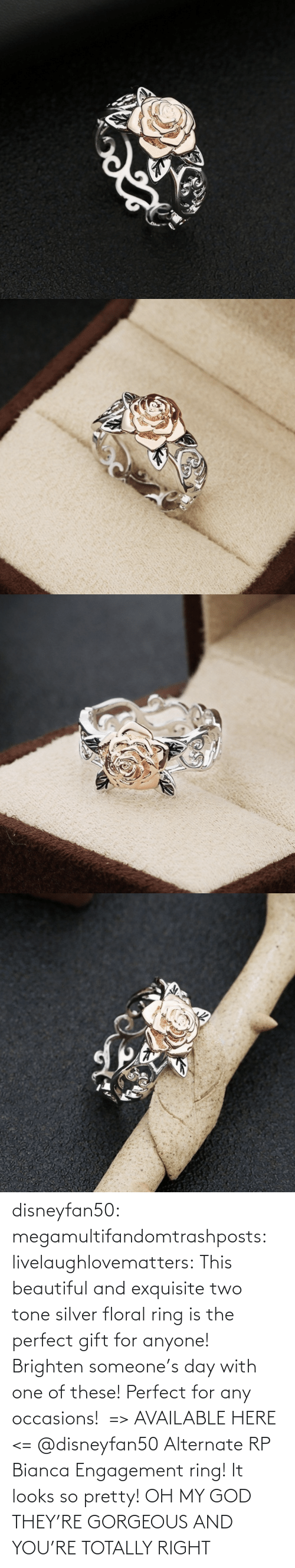 ring: disneyfan50:  megamultifandomtrashposts: livelaughlovematters:  This beautiful and exquisite two tone silver floral ring is the perfect gift for anyone! Brighten someone's day with one of these! Perfect for any occasions!  => AVAILABLE HERE <=    @disneyfan50 Alternate RP Bianca Engagement ring! It looks so pretty!  OH MY GOD THEY'RE GORGEOUS AND YOU'RE TOTALLY RIGHT