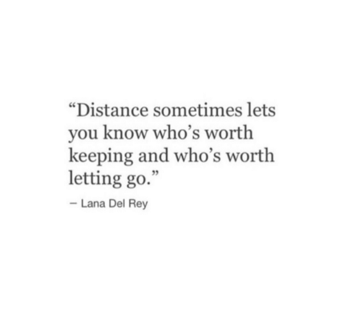 """Lana Del Rey: """"Distance sometimes lets  you know who's worth  keeping and who's worth  letting go.  Lana Del Rey"""