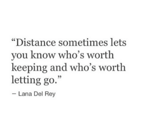 """Lana Del Rey: """"Distance sometimes lets  you know who's worth  keeping and who's worth  letting go.""""  5  Lana Del Rey"""