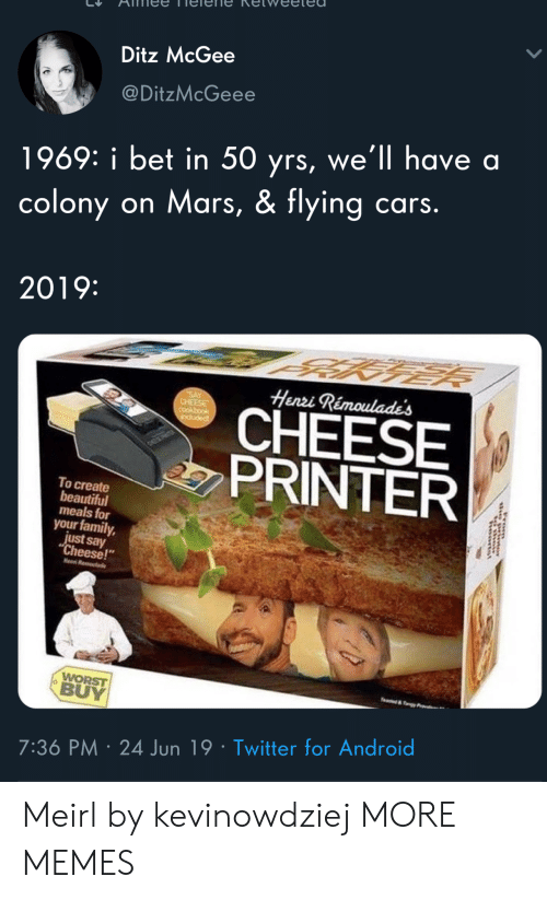 "rom: Ditz McGee  @DitzMcGeee  1969: i bet in 50 yrs, we'll have a  colony on Mars, & flying cars.  2019:  Henri Rémoulade's  SAY  CHEESE  CHEESE  PRINTER  induded  To create  beautiful  meals for  your family,  just say  ""Cheese!  Hen R  WORST  BUY  e&y  7:36 PM 24 Jun 19 Twitter for Android  rom Meirl by kevinowdziej MORE MEMES"