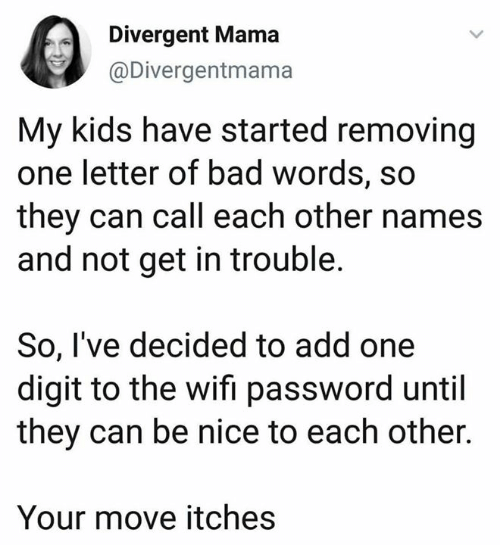 Your Move: Divergent Mama  @Divergentmama  My kids have started removing  one letter of bad words, so  they can call each other names  and not get in trouble.  So, I've decided to add one  digit to the wifi password until  they can be nice to each other.  Your move itches