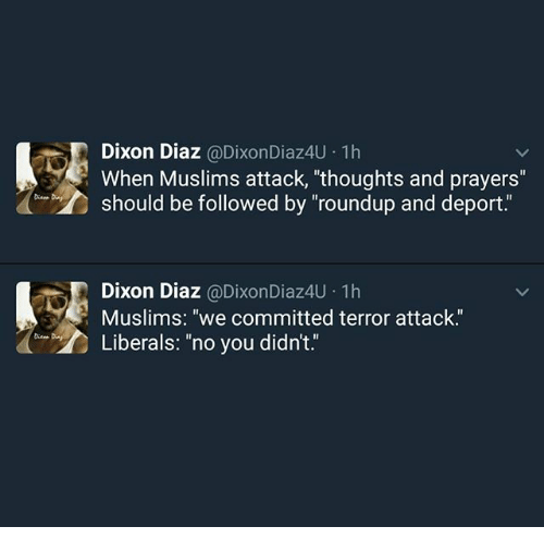 """Memes, 🤖, and Roundup: Dixon Diaz  (a Dixon Diaz4U.1h  When Muslims attack, thoughts and prayers""""  should be followed by """"roundup and deport  A Dixon Diaz  @Dixon Diaz4U terror attack.  1h  Muslims: """"we committed Liberals: """"no you didn't"""