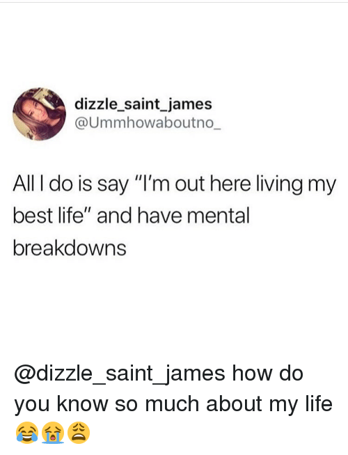 """Life, Memes, and Best: dizzle saint james  @Ummhowaboutno  All I do is say """"I'm out here living my  best life"""" and have mental  breakdowns @dizzle_saint_james how do you know so much about my life 😂😭😩"""