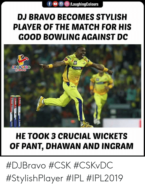 ingram: DJ BRAVO BECOMES STYLISH  PLAYER OF THE MATCH FOR HIS  GOOD BOWLING AGAINST DC  HE TOOK 3 CRUCIAL WICKETS  OF PANT, DHAWAN AND INGRAM #DJBravo #CSK #CSKvDC #StylishPlayer #IPL #IPL2019