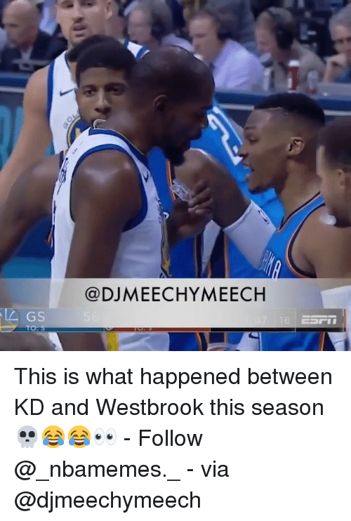 Memes, 🤖, and Via: @DJMEECHYMEECH  GS This is what happened between KD and Westbrook this season 💀😂😂👀 - Follow @_nbamemes._ - via @djmeechymeech