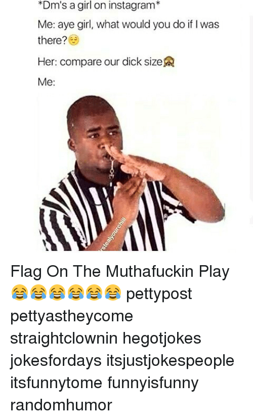 Memes, 🤖, and Dms: *Dm's a girl on instagram*  Me: aye girl, what would you do if was  there?  Her: compare our dick size  Me: Flag On The Muthafuckin Play 😂😂😂😂😂😂 pettypost pettyastheycome straightclownin hegotjokes jokesfordays itsjustjokespeople itsfunnytome funnyisfunny randomhumor