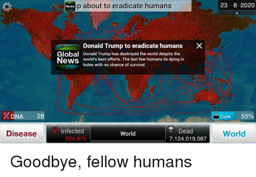 Donald Trump, News, and Politics: DNA  28  Disease  News p about to eradicate humans  Donald Trump to eradicate humans  X  Global Donald Trump has destroyed the world despite the  News  world's best efforts. The last few humans lie dying in  holes with no chance of survival  Dead  Infected  World  524,875  7,124,019,087  -23 8 2020  Cure  55%  World Goodbye, fellow humans