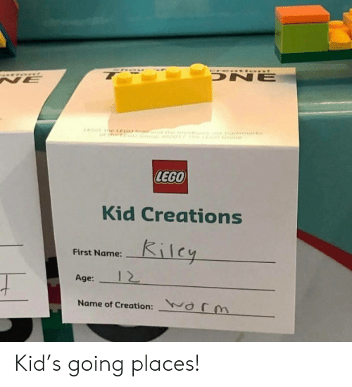 creations: DNE  NE  LEGO  Kid Creations  Kilcy  First Name:  12  Age:  orm  Name of Creation: Kid's going places!