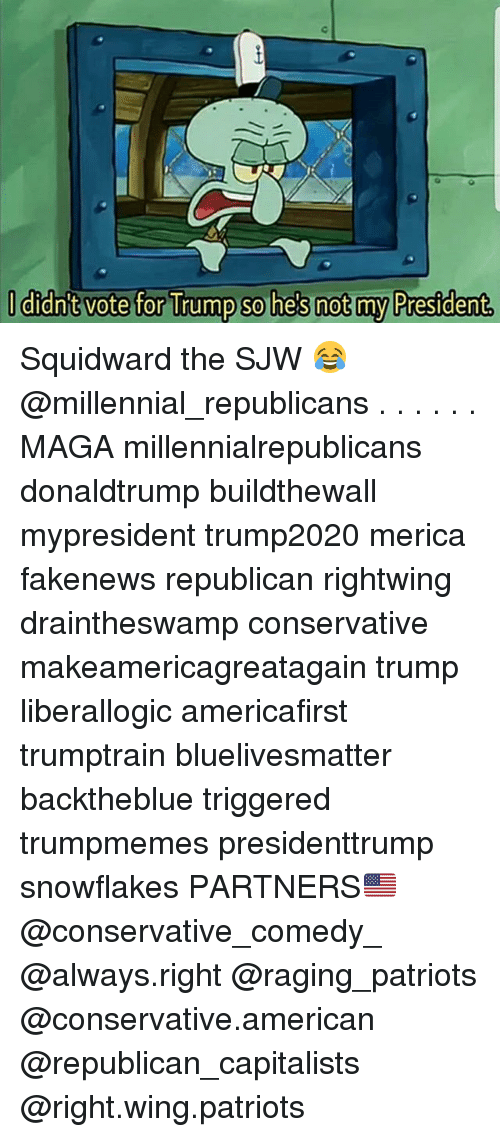 Memes, Patriotic, and Squidward: dnt vote for Trump so he  s not my P  restdent Squidward the SJW 😂 @millennial_republicans . . . . . . MAGA millennialrepublicans donaldtrump buildthewall mypresident trump2020 merica fakenews republican rightwing draintheswamp conservative makeamericagreatagain trump liberallogic americafirst trumptrain bluelivesmatter backtheblue triggered trumpmemes presidenttrump snowflakes PARTNERS🇺🇸 @conservative_comedy_ @always.right @raging_patriots @conservative.american @republican_capitalists @right.wing.patriots