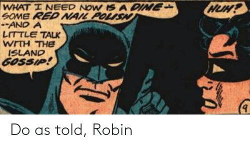 robin: Do as told, Robin