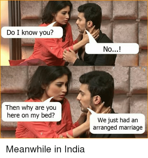 Arranged Marriage: Do I know you?  Then why are you  here on my bed?  No...!  We just had an  arranged marriage Meanwhile in India