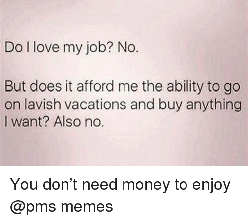 Also No: Do I love my job? No.  But does it afford me the ability to go  on lavish vacations and buy anything  I want? Also no. You don't need money to enjoy @pms memes
