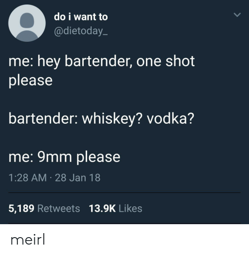 9mm: do i want to  @dietoday.  me: hey bartender, one shot  please  bartender: whiskey? vodka?  me: 9mm please  1:28 AM 28 Jan 18  5,189 Retweets 13.9K Likes meirl