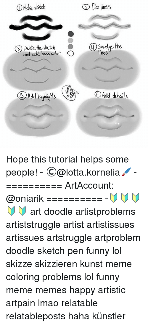 Meme Happy: Do lines  O Make sketch  the Skutch  4 the  d cdd base color  O  lines  Add details Hope this tutorial helps some people! - ©@lotta.kornelia🖌 - ========== ArtAccount: @oniarik ========== -🔰🔰🔰🔰🔰 art doodle artistproblems artiststruggle artist artistissues artissues artstruggle artproblem doodle sketch pen funny lol skizze skizzieren kunst meme coloring problems lol funny meme memes happy artistic artpain lmao relatable relatableposts haha künstler