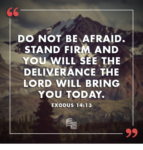 Exodus: DO NOT BE AFRAID.  STAND FIRM AND  YOU WILL SEE THE  DELIVERANCE THE  LORD WILL BRING  YOU TODAY.  EXODUS 14:13