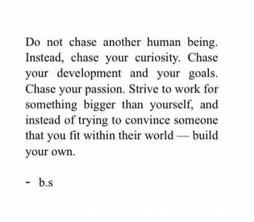 build your own: Do not chase another human being.  Instead, chase your curiosity. Chase  your development and your goals.  Chase your passion. Strive to work for  something bigger than yourself, and  instead of trying to convince someone  that you fit within their world build  your own