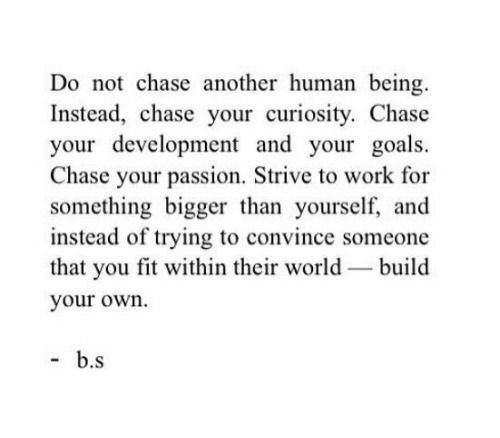 build your own: Do not chase another human being.  Instead, chase your curiosity. Chase  your development and your goals.  Chase your passion, Strive to work for  something bigger than yourself, and  instead of trying to convince someone  that you fit within their world-build  your own