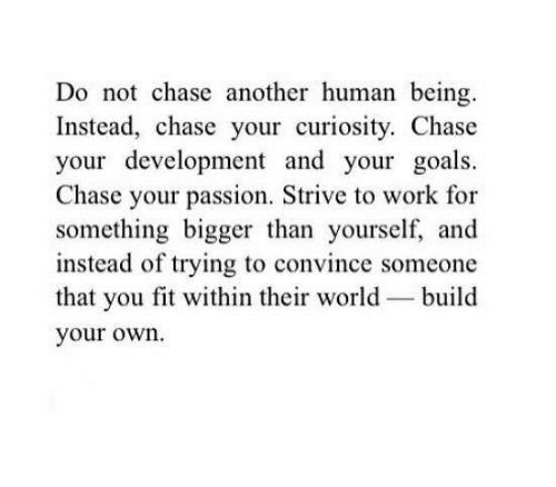 build your own: Do not chase another human being.  Instead, chase your curiosity. Chase  your development and your goals.  Chase your passion. Strive to work for  something bigger than yourself, and  instead of trying to convince someone  that you fit within their world build  your own.