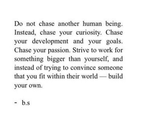 build your own: Do not chase another human being  Instead, chase your curiosity. Chase  your development and your goals.  Chase your passion, Strive to work for  something bigger than yourself, and  instead of trying to convince someone  that you fit within their world build  your own