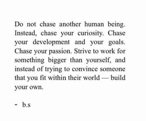 build your own: Do not chase another human being  Instead, chase your curiosity. Chase  your development and your goals  Chase your passion. Strive to work for  something bigger than yourself, and  instead of trying to convince someone  that you fit within their world build  your own.  b.s