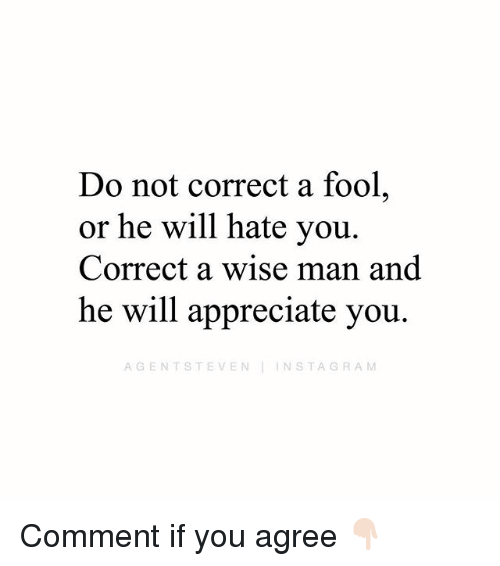 Instagram, Memes, and Appreciate: Do not correct a fool,  or he will hate you.  Correct a wise man and  he will appreciate you.  AGENTSTEVEN INSTAGRAM Comment if you agree 👇🏻