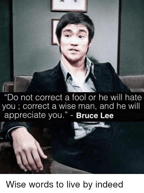 """Wise Man: """"Do not correct a fool or he will hate  you; correct a wise man, and he will  appreciate you."""" - Bruce Lee Wise words to live by indeed"""