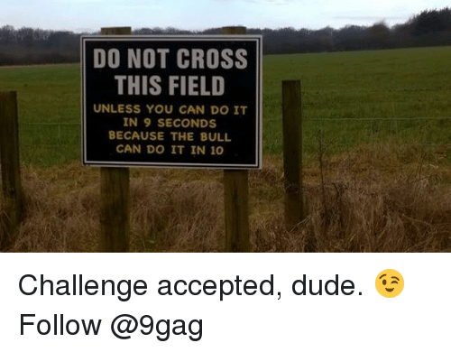 9gag, Dude, and Memes: DO NOT CROSS  THIS FIELD  UNLESS YOU CAN DO IT  IN 9 SECONDS  BECAUSE THE BULL  CAN DO IT IN 1O Challenge accepted, dude. 😉 Follow @9gag