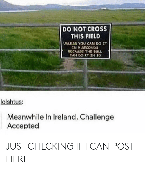 challenge accepted: DO NOT CROSS  THIS FIELD  UNLESS YOU CAN DO IT  IN 9 SECONDS  BECAUSE THE DULL  CAN DOIT IN 10  lolshtus:  Meanwhile In Ireland, Challenge  Accepted JUST CHECKING IF I CAN POST HERE
