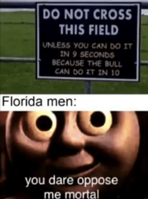 mortal: DO NOT CROSS  THIS FIELD  UNLESS YOU CAN DO IT  IN 9 SECONDS  BECAUSE THE BULL  CAN DO IT IN 10  Florida men:  you dare oppose  me mortal