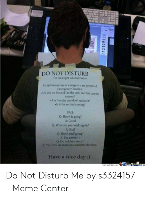 Do Not Disturb Meme: DO NOT DISTURE  I'm on a tight schedule today  Exceptions in case of emergency are permitted  Emergency Checklist  Are you on fire and I'm the only one that can put  you out?  Am I on fire and dont realize it?  -Is it the second coming  FAQ  Q: How's it going?  A: Good  Q: What are you working on?  A: Stulf  Q How's stuf going?  A: See answer 1  Q: Do dolpbins sleep?  A Yes, they are mammals and they do sleep  Have a nice day :) Do Not Disturb Me by s3324157 - Meme Center