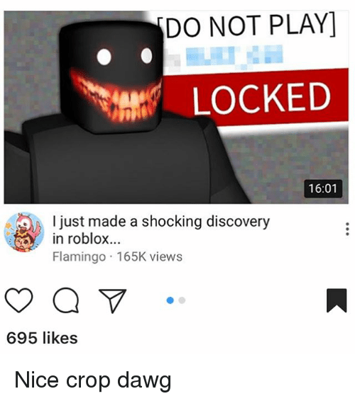 Memes, Nice, and 🤖: DO NOT PLAY]  ent LOCKED  16:01  l just made a shocking discovery  in roblox...  Flamingo 165K views  695 likes Nice crop dawg