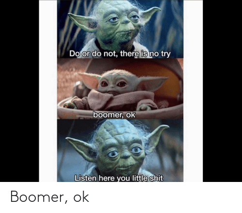 do or do not there is no try: Do or do not, there is no try  boomer, ok  Listen here you little shit Boomer, ok