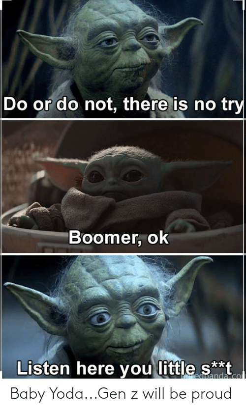 Littles: Do or do not, there is no try  Boomer, ok  Listen here you littleS  s**t  regpanda.col Baby Yoda...Gen z will be proud