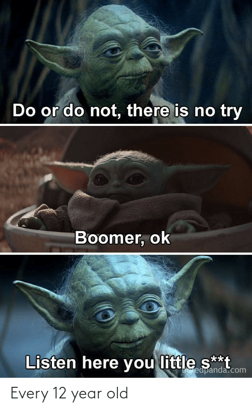 do or do not there is no try: Do or do not, there is no try  Boomer, ok  Listen here you little s**t  Doreapanda.com Every 12 year old