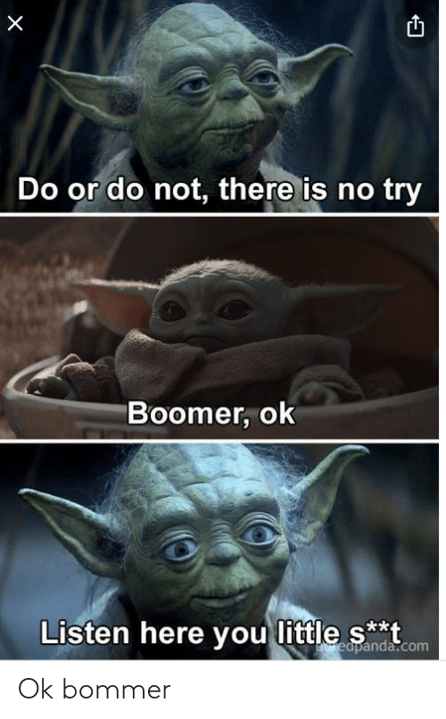 do or do not there is no try: Do or do not, there is no try  Boomer, ok  Listen here you little s**t  Ereapanda.com Ok bommer