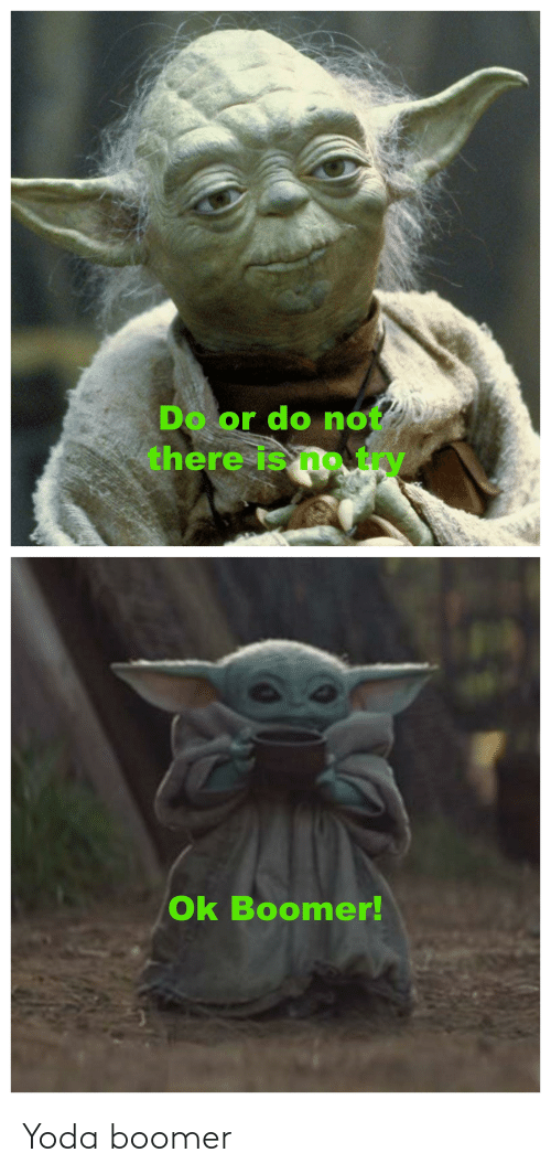 do or do not there is no try: Do or do not  there is no try  Ok Boomer! Yoda boomer