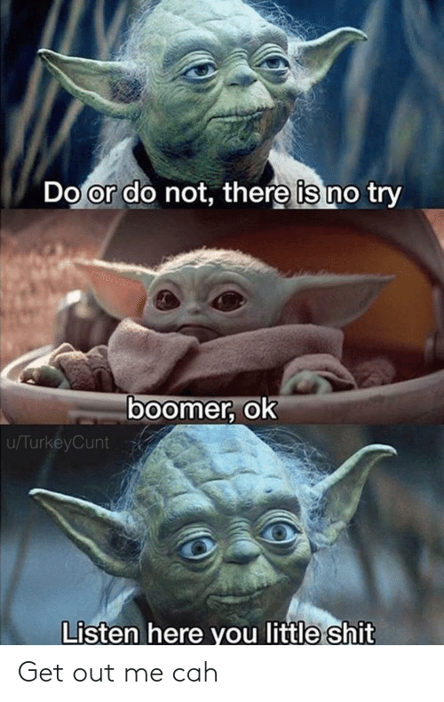 do or do not there is no try: Do or do not, there is no try  rollervader  boomer, ok  u/TurkeyCunt  Listen here you little shit Get out me cah