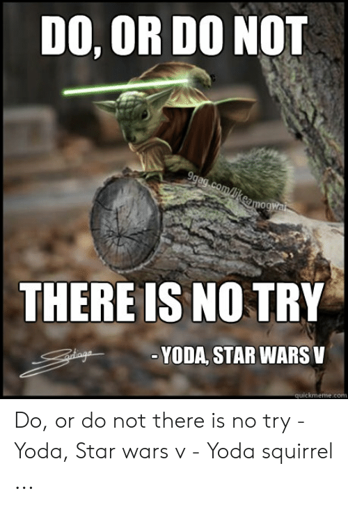 no try yoda: DO, OR DO NOT  THERE IS NO TRY  -YODA, STAR WARSV Do, or do not there is no try - Yoda, Star wars v - Yoda squirrel ...