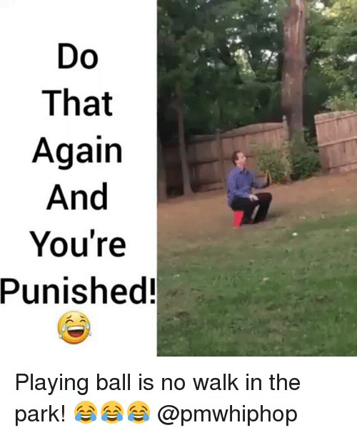 walk in the park: Do  That  Again  And  You're  Punished! Playing ball is no walk in the park! 😂😂😂 @pmwhiphop