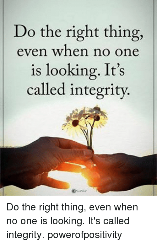 Memes, Integrity, and Do the Right Thing: Do the right thing,  even when no one  is looking. It's  called integrity. Do the right thing, even when no one is looking. It's called integrity. powerofpositivity