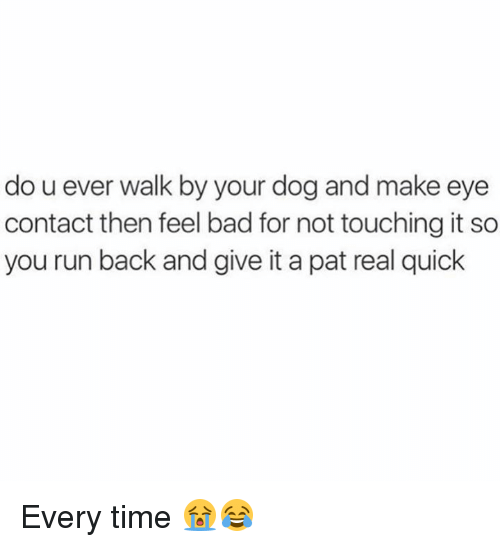 Bad, Dank, and Run: do u ever walk by your dog and make eye  contact then feel bad for not touching it so  you run back and give it a pat real quick Every time 😭😂