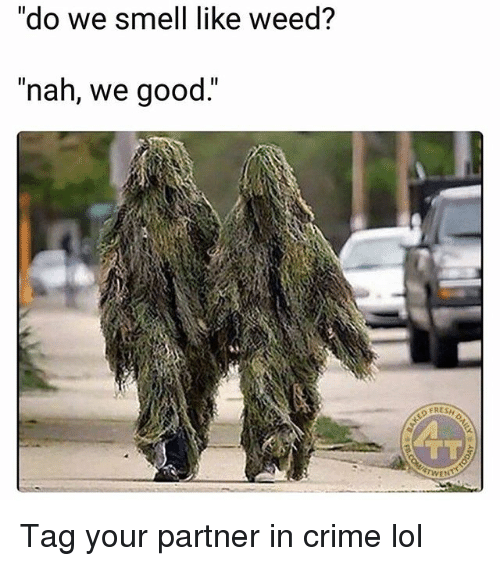 """Crime, Funny, and Lol: do we smell like Weed  """"nah, we good.""""  TL  WEN Tag your partner in crime lol"""