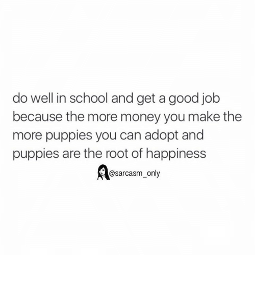 Funny, Memes, and Money: do well in school and get a good job  because the more money you make the  more puppies you can adopt and  puppies are the root of happiness  @sarcasm only ⠀