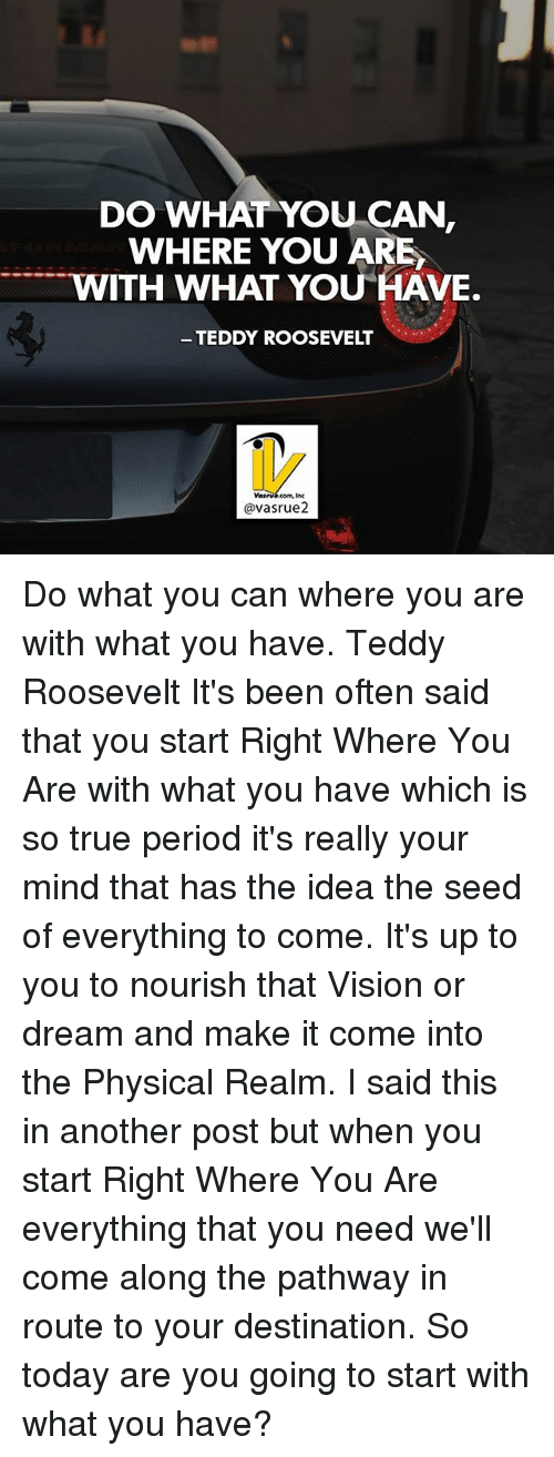 Memes, Period, and True: DO WHAT YOU CAN,  WHERE YOU ARE  TTTTT WITH WHAT YOU HAVE.  TEDDY ROOSEVELT  avasrue2 Do what you can where you are with what you have. Teddy Roosevelt It's been often said that you start Right Where You Are with what you have which is so true period it's really your mind that has the idea the seed of everything to come. It's up to you to nourish that Vision or dream and make it come into the Physical Realm. I said this in another post but when you start Right Where You Are everything that you need we'll come along the pathway in route to your destination. So today are you going to start with what you have?